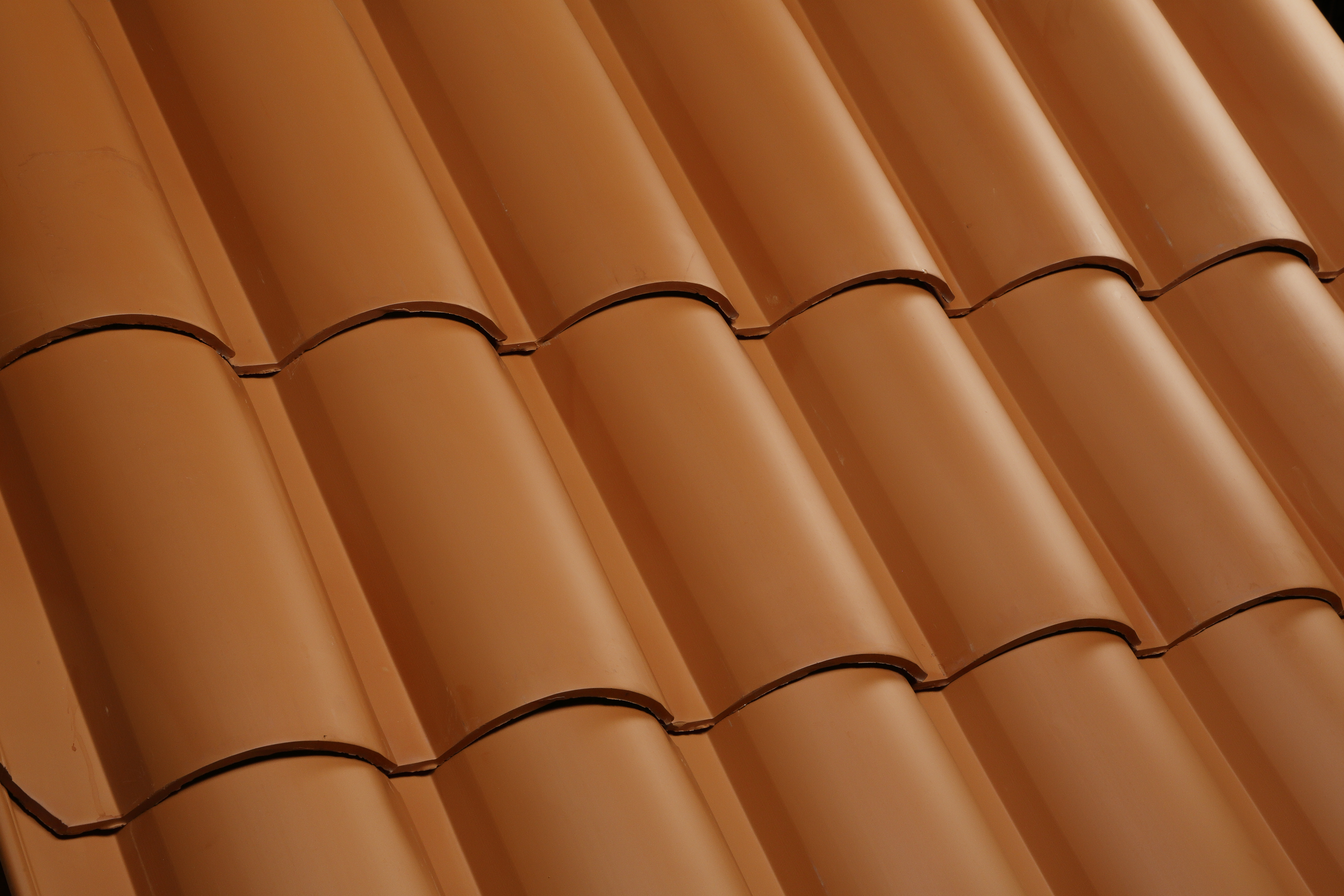 See the texture of clay roof tiles.
