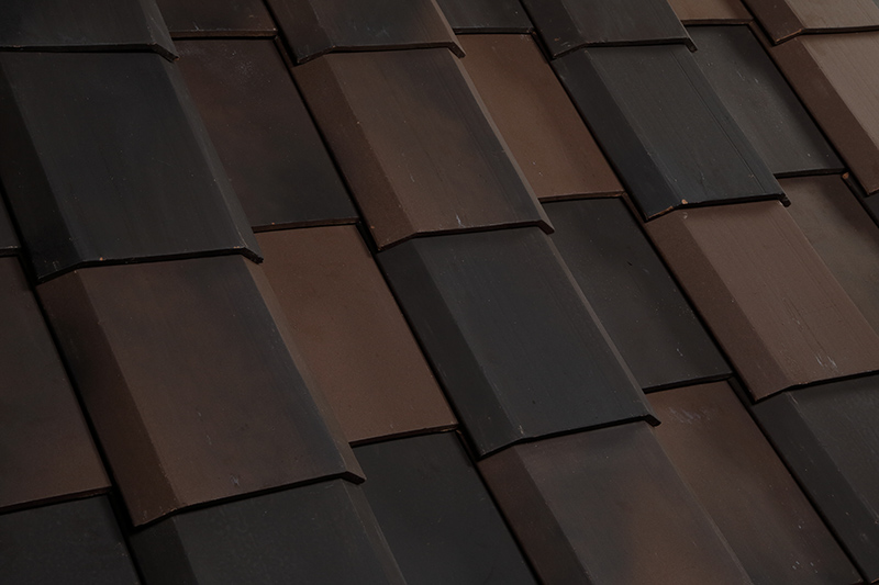 black clay roof tiles