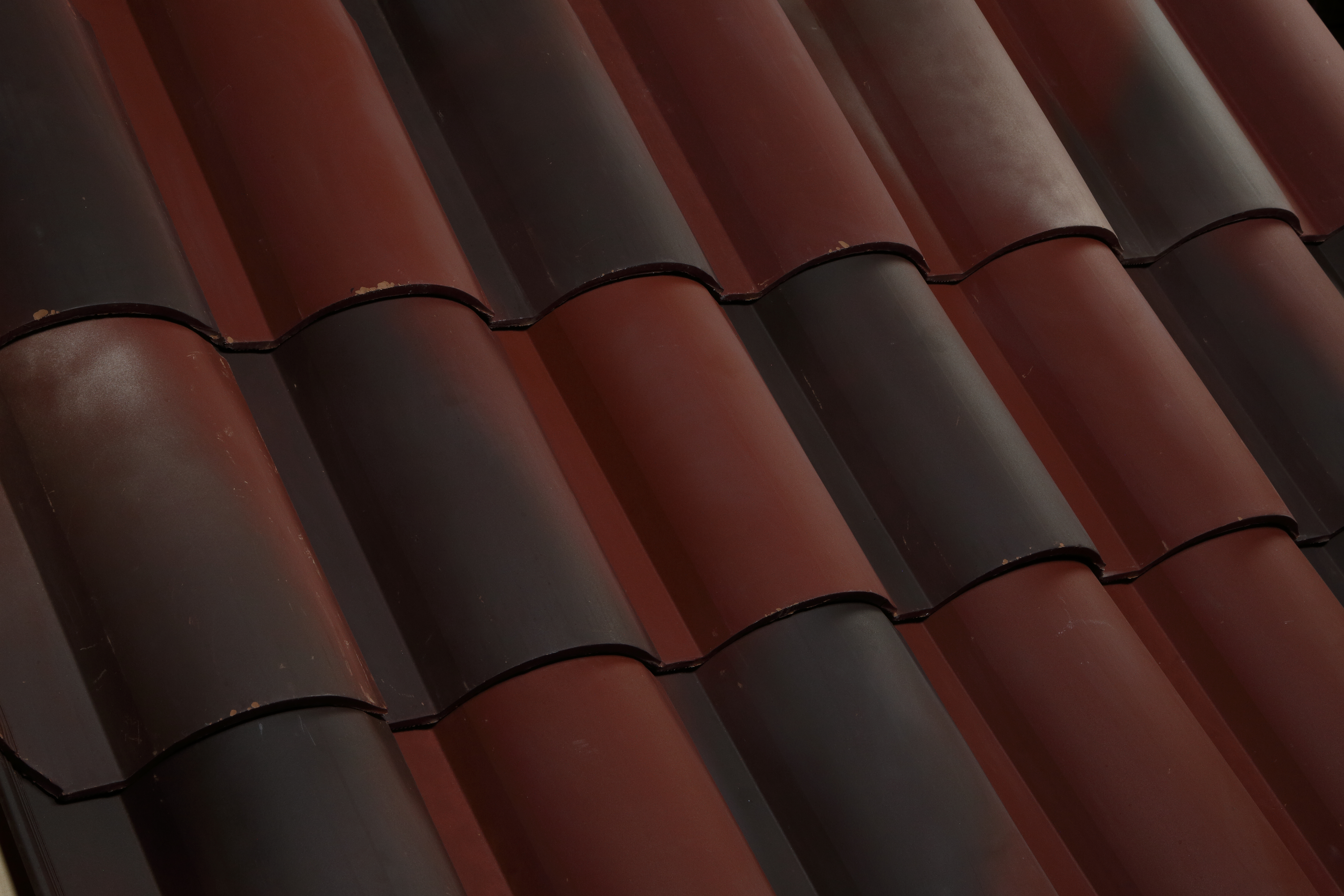 Simulated clay tile roof.